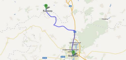 Карта проезда из Воронежа до