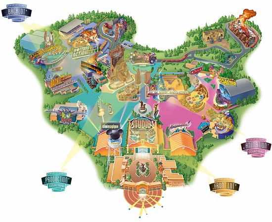 Карта Walt Disney Studios Park, парижский диснейленд