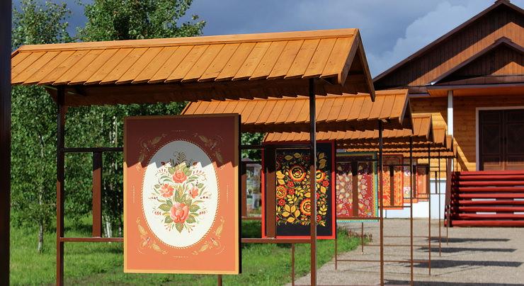 Аллея русской росписи в Русском парке