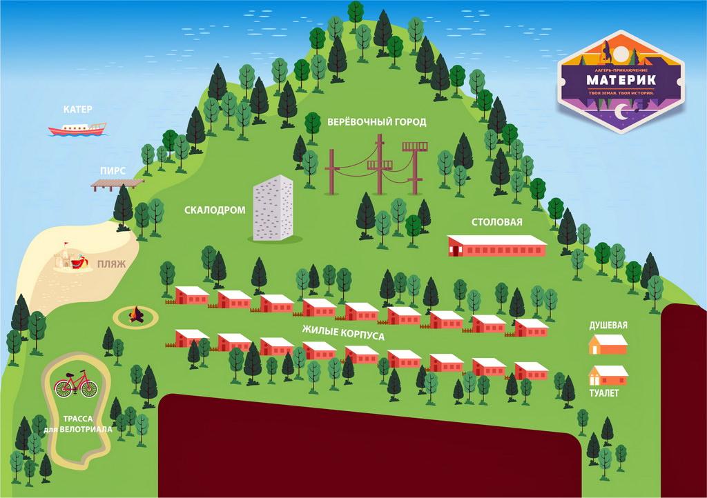 Карта летнего лагеря Материк