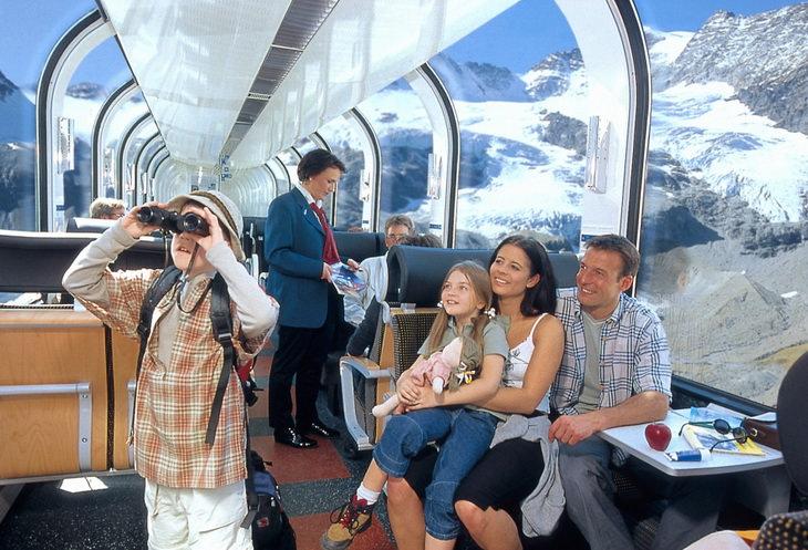 Панорамный поезд в Швейцарии